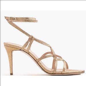 JCrew • Metallic cross-strap sandals